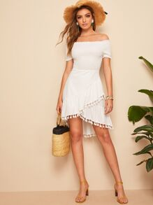 Off Shoulder Shirred Bodice Tassel Hem Dress