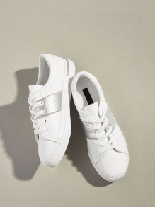 Metallic Detail Lace-up Front Sneakers