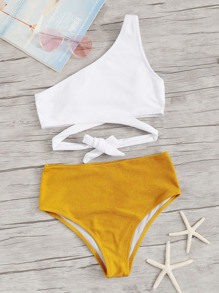 Two Tone Ribbed One Shoulder Bikini Set