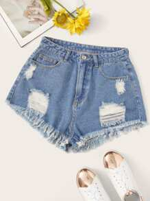 Ripped Detail Raw Hem Denim Shorts