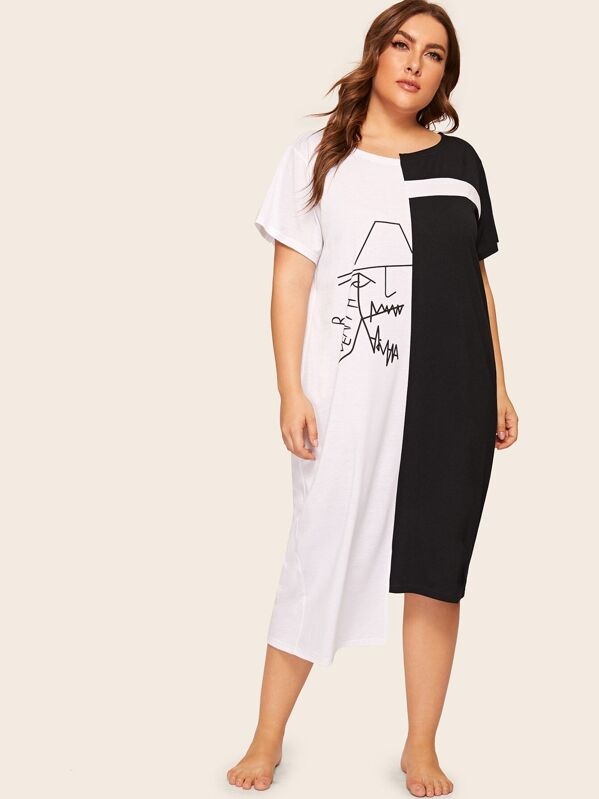 Plus Abstract Face Print Colorblock Night Dress