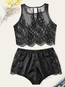 Floral Lace Top With Satin Shorts