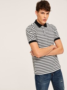 Men Contrast Cuff & Collar Striped Polo Shirt