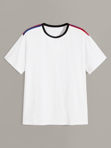 Men Striped Shoulder Ringer Tee