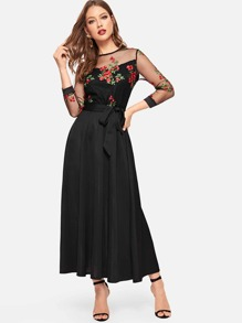 Floral Embroidered Contrast Mesh Dress