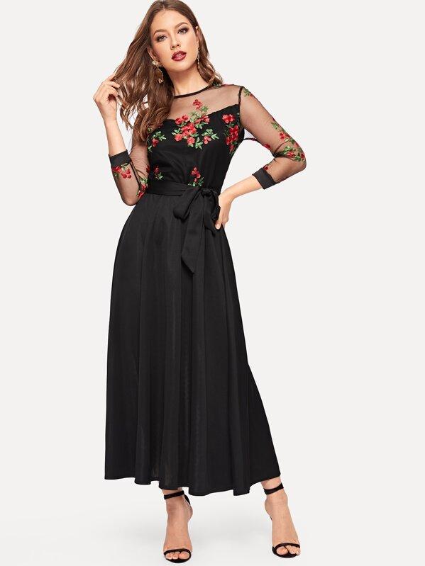 955fa74bd Vestido con malla en contraste con bordado floral | SHEIN ES