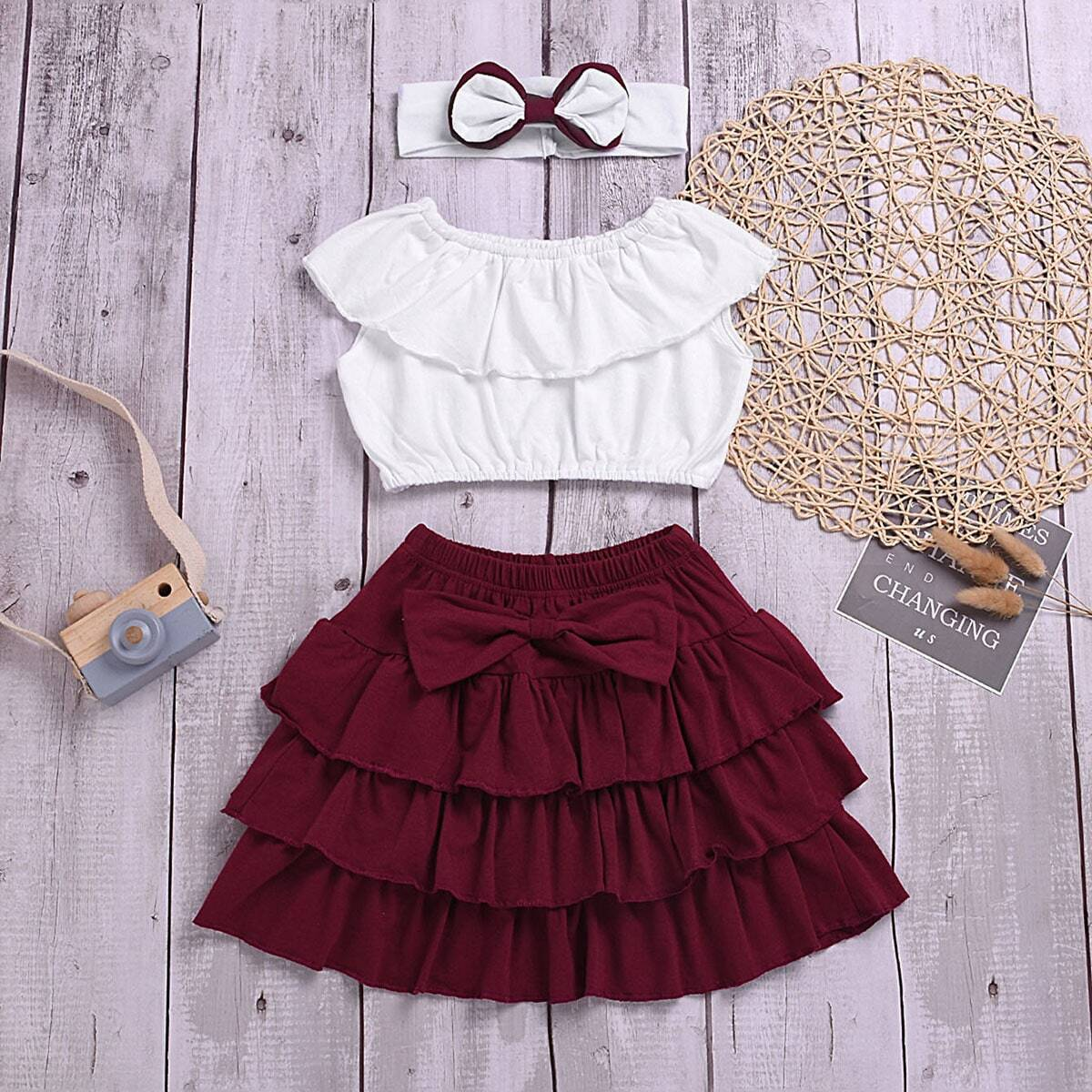 SHEIN coupon: Toddler Girl Ruffle Trim Top And Bow Tiered Hem Skirt With Headband