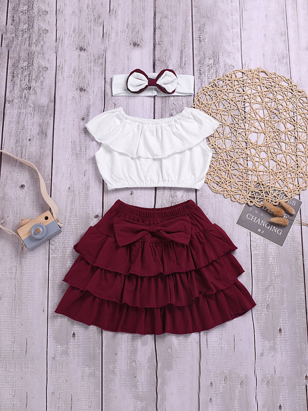 36bb6cdeb5 Toddler Girl Ruffle Trim Top And Bow Tiered Hem Skirt With Headband | SHEIN