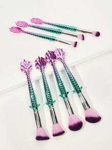Mermaid Design Handle Makeup Brush 7pack