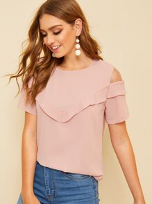 Open Shoulder Ruffle Trim Blouse