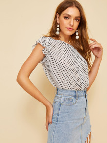 Polka Dot Butterfly Sleeve Blouse