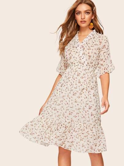 5e52230e46 Surplice Ditsy Floral Ruffle Hem Knot Side Dress