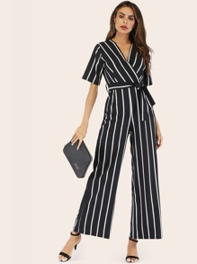 Surplice Striped Belted Jumpsuit