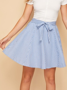 Striped Elastic Waist Tie Front Skirt