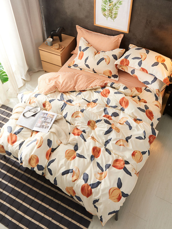 Peach Print Bedding Set