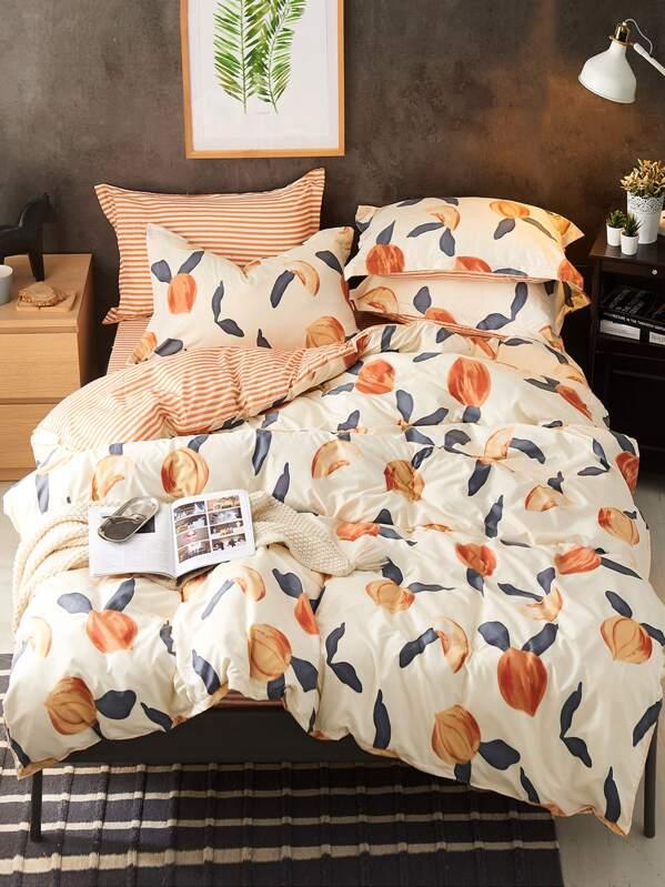 . Peach Print Bedding Set