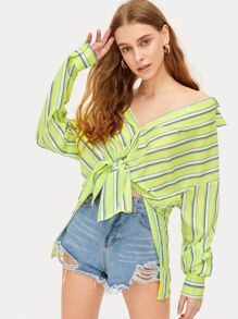 Neon Lime Striped Knot Detail Blouse