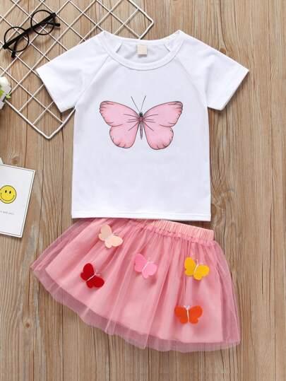 c772d02e16b5 Toddler Girls Butterfly Print Tee With Mesh Dress   SHEIN