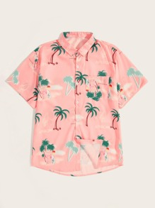 Guys Plants Print Pocket Detail Shirt