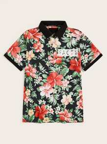 Guys Floral And Letter Print Shirt