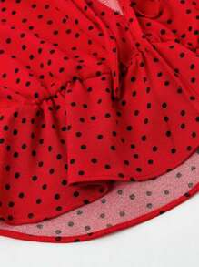 231dc67de8f4be Tie Front Polka Dot Peplum Blouse