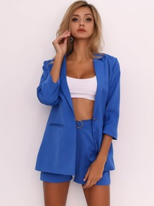 Joyfunear Single Button Blazer and Ring Detail Short Set