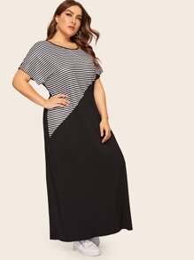 Plus Contrast Panel Striped Longline Dress