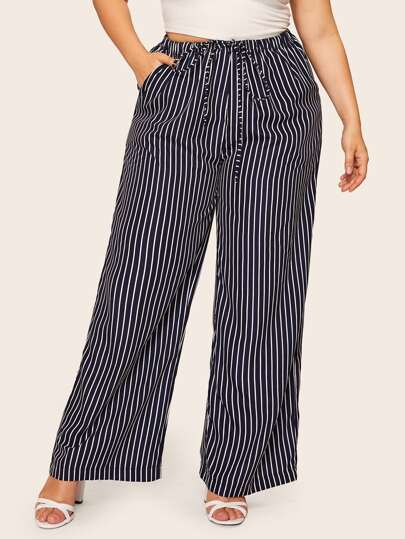 1f2684d8590 Plus Striped Drawstring Waist Wide Leg Pants