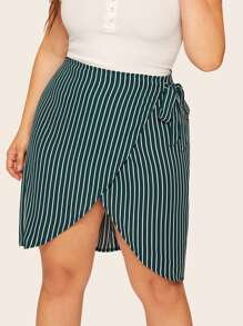 Plus Striped Tulip Hem Wrap Skirt