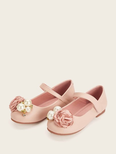 Toddler Girls Floral & Pearl Decor Flats