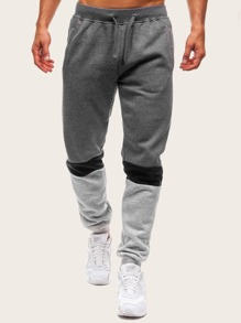 Men Cut And Sew Panel Drawstring Waist Pants
