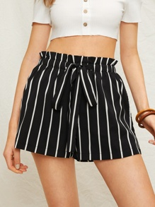 Striped Drawstring Waist Paperbag Shorts