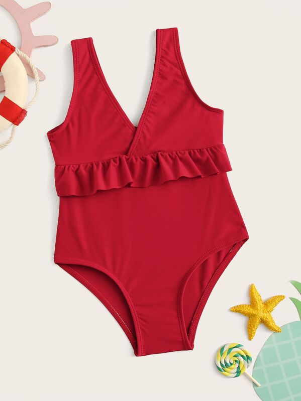 79cd815ec7d Toddler Girls Double V Neck Ruffle One Piece Swimsuit | SHEIN