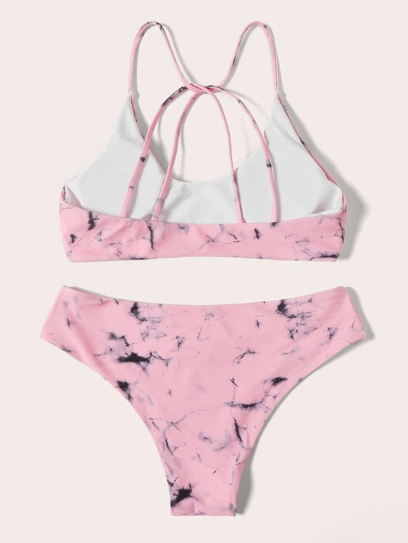 Avec Marbre Et Imprimé Lacets Croisés Bikini Nw8vnm0