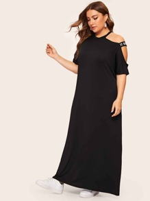 Plus Contrast Letter Taped Maxi Dress