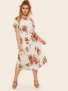 Plus Floral Print Self Tie Dress