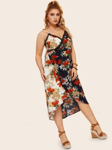Plus Contrast Lace Floral Print Wrap Dress