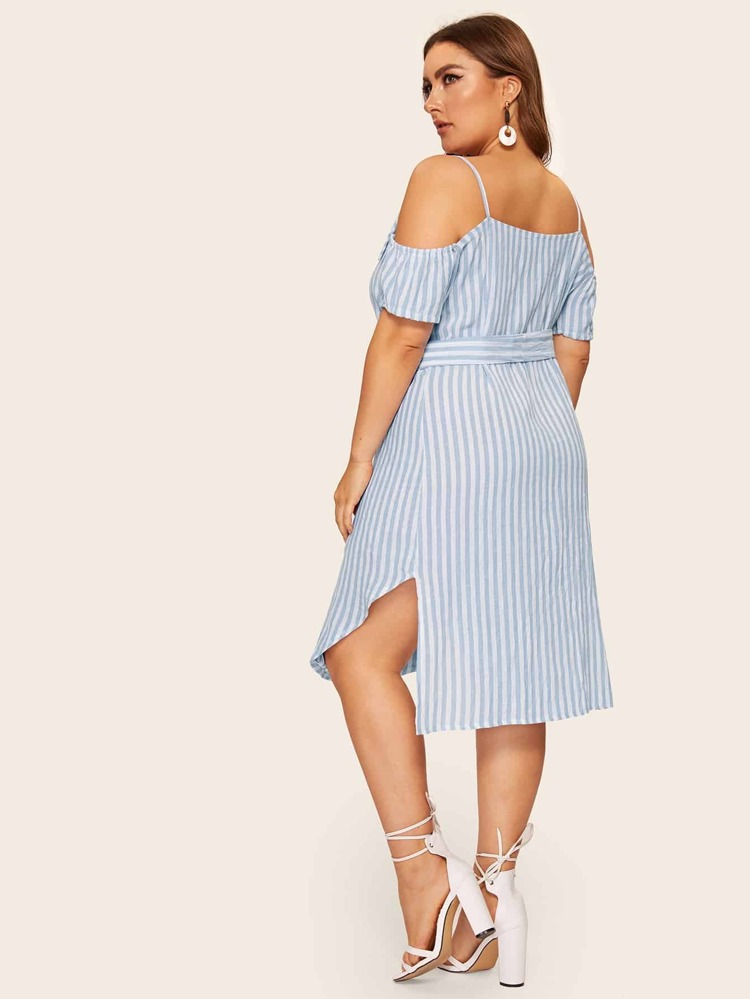 Plus Cold Shoulder Striped Shirt Dress | SHEIN