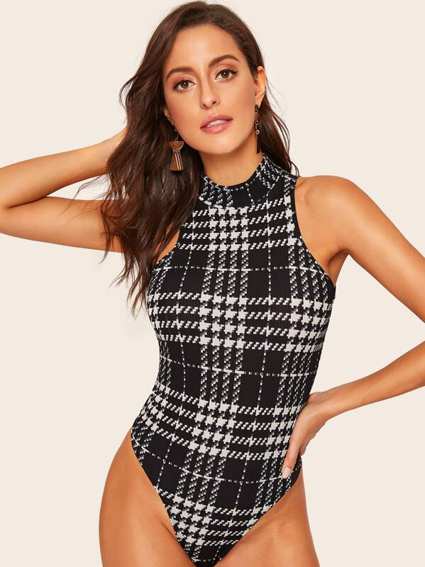 Shein Mock Neck Houndstooth Skinny Bodysuit by Sheinside
