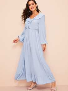 Ruffle Detail Bishop Sleeve Solid Dress