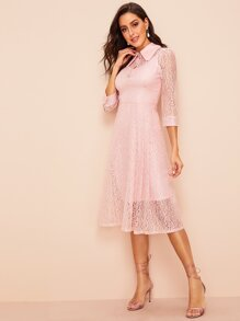 60s Button Front Floral Lace 2 in 1 Dress