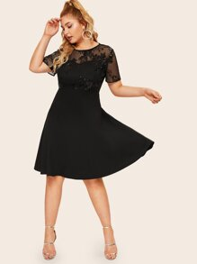 Plus Sequin Mesh Bodice Fit & Flare Dress