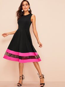 60s Mesh Insert Striped Detail Fit & Flare Dress
