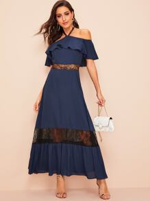 Halter Off Shoulder Lace Insert Ruffle Dress