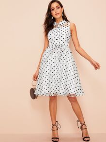 60s Buttoned Front Belted Polka Dot Organza Dress