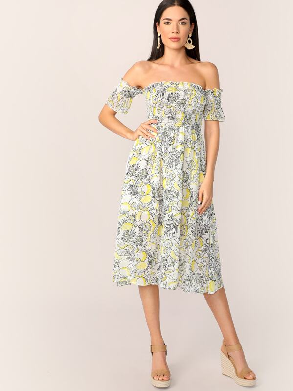e4877c8d2c825 Off Shoulder Frill Shirred Detail Lemon Print Dress | SHEIN
