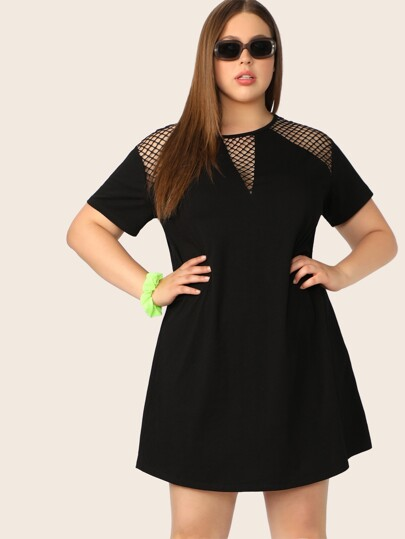 66e611e9256 Plus Cutout Fishnet Detail Tunic Dress
