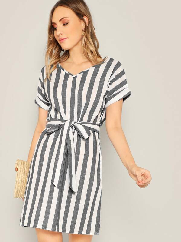 42909793532 Two Tone Striped Belted Dress