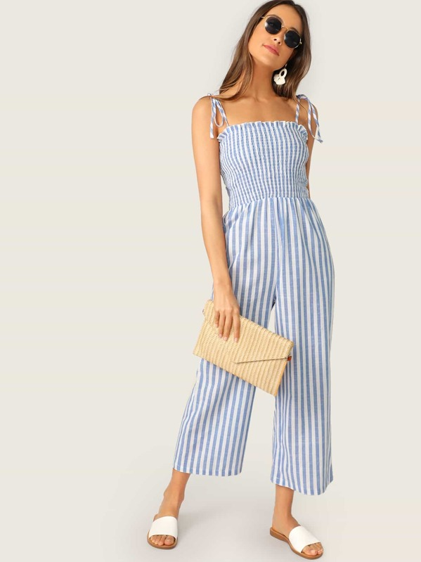6c7ef033c Two Tone Knot Shoulder Frill Smocked Striped Jumpsuit | SHEIN UK