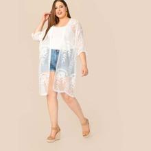 Plus Embroidered Mesh Sheer Knee Length Kimono